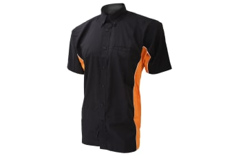 Gamegear Mens Sportsman Short Sleeve Shirt / Mens Sportswear (Black/Orange/White) (XL)