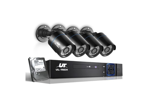 UL-TECH 1080P Four Channel Security System with 4 Cameras & 1TB Hard Drive (Black)