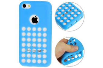 For iPhone 5C Back Case  Grippy Hollow Dot Durable Shielding Cover Blue