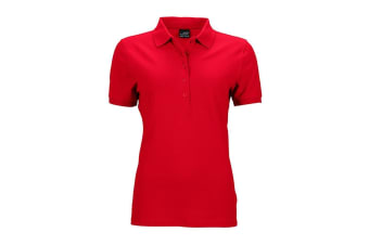 James and Nicholson Womens/Ladies Elastic Pique Polo Shirt (Red) (M)