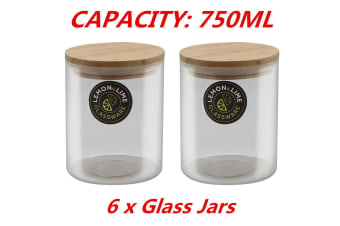 6 x Food Storage Jar Glass Jars 750ML Canister Container Wooden Lid Tube Tubs
