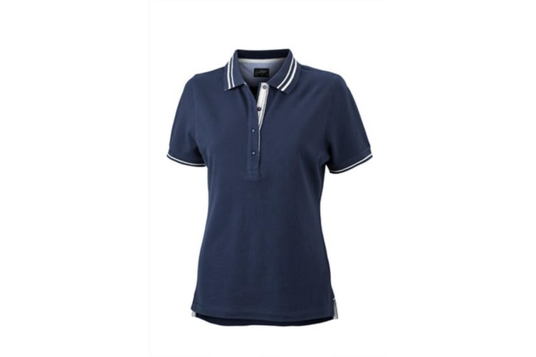 James and Nicholson Womens/Ladies Lifestyle Polo (Navy/Off White) (S)