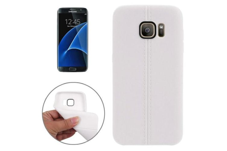 For Samsung Galaxy S7 Case Modern Stitches Durable Grippy Shielding Cover White