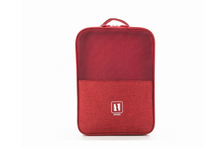 Waterproof Travel Zipper Shoes Receiving And Finishing Bags - Red Red 30*20*13Cm