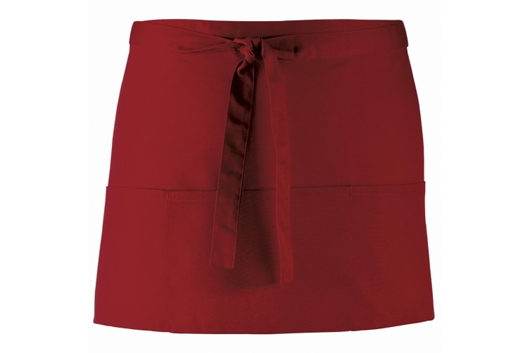 Premier Ladies/Womens Colours 3 Pocket Apron / Workwear (Pack of 2) (Burgundy) (One Size)