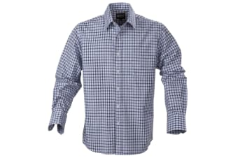 Harvest Mens Austin Checked Casual Shirt (Blue) (L)