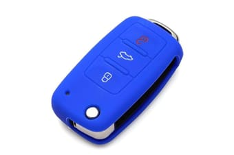 Protective Silicone Key Cover Keyless Entry Remote Fob Shell Dark Blue