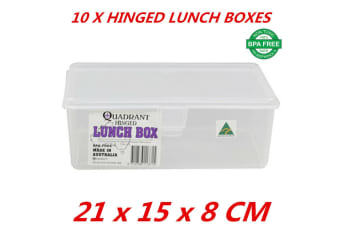 10 x Hinged Lunch Box Flip Top Plastic Food Storage Container Quadrant BPA Free