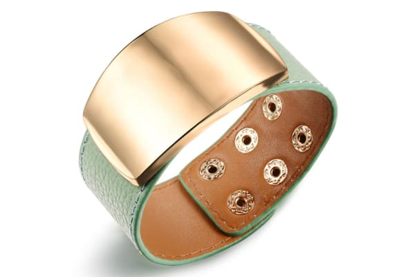 Genuine Cow Leather Wrap Bracelet With 18K Gold Buckle-Leather/Green