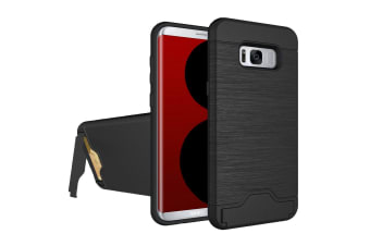 For Samsung Galaxy S8 PLUS Case Stylish Brushed Card Slot Armour Cover Black