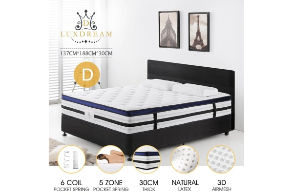 5-Zone Latex Pocket Euro Top Deluxe Support Foam Spring Mattress - Double