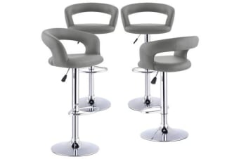 4x PU Leather Swivel Bar stool Gas Lift Adjustable Grey Colour