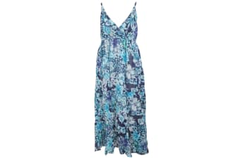 Womens/Ladies Floral Print Strappy Crossover Summer Dress (Blue)