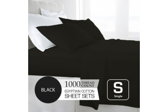 Single Size Black 1000TC Egyptian Cotton Sheet Set