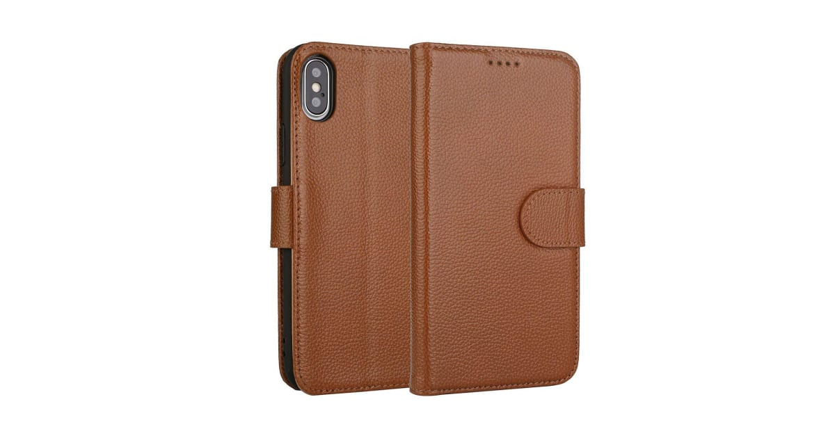 big sale a2d57 c9264 Fashion Brown Cowhide Genuine Leather Wallet For iPhone XS MAX Case | Phone  Cases