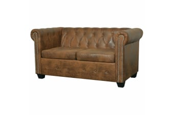 vidaXL Chesterfield Sofa 2-Seater Artificial Leather Brown