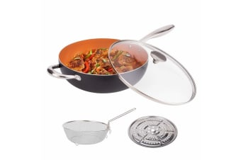 Nonstick Copper Wok w/ Lid Frying Basket & Steam Rack Ceramic Deep Frying Pan