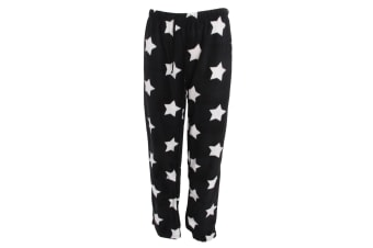 Selena Secrets Womens/Ladies Fleece Pyjama Bottoms (Black Star)