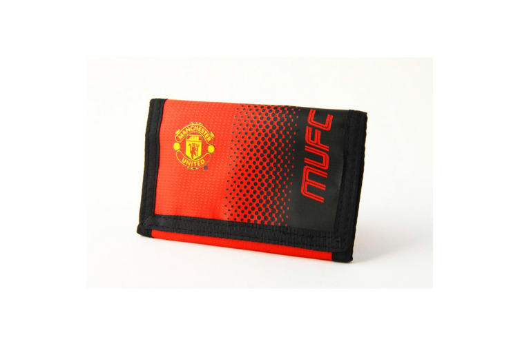 Manchester United FC Official Fade Touch Fastening Football Crest Wallet (Red/Black) (One Size)