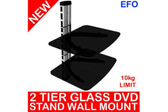 2 Tier Tempered Glass Dvd Stand Wall Mount 10Kg Limit 380Mm Height Hdl-236E