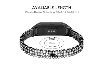 Select Mall Beaded and Sparkling Strap for Samsung Samsung Galaxy Fit SM-R370-Black