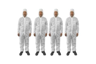 4pc Protective Dust/Spray Paint Reusable M Polyester Coverall/Overall Suit White