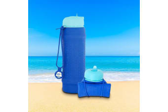 Rolla Bottle Reusable Silicone Roll Up Water Bottle 700ml - Blue