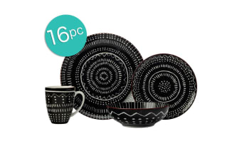 16pc Casa Domani Casual Togo Porcelain Mugs Bowls Dinner Side Plates Black Set