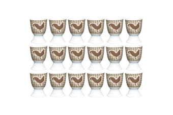 18pc KitchenCraft Hen Boiled Egg Cup Holder Stand Tableware Servingware Brown
