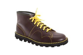 Grafters Mens Original Coated Leather Retro Monkey Boots (Wine)