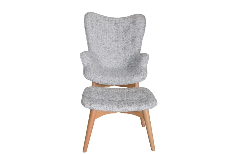 Replica Grant Featherston Contour Lounge Chair & Ottoman | Textured Light Grey Fabric | Natural Legs