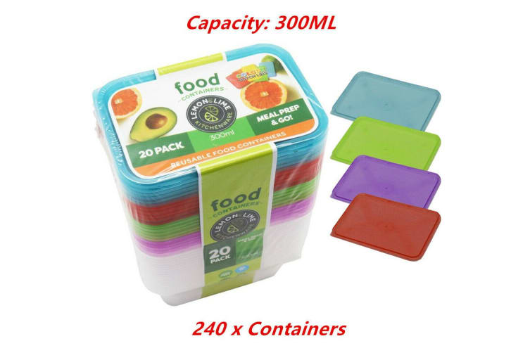 240 x 300ML Food Containers Colored Lid 300ML BPA Free Plastic Meal Storage Take Away