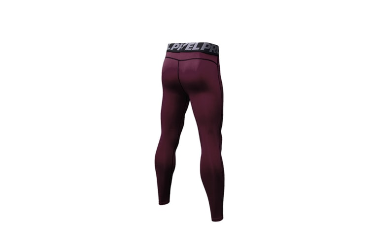 Men'S Compression Pants Baselayer Cool Dry Sports Tights Leggings - Wine Red Red S