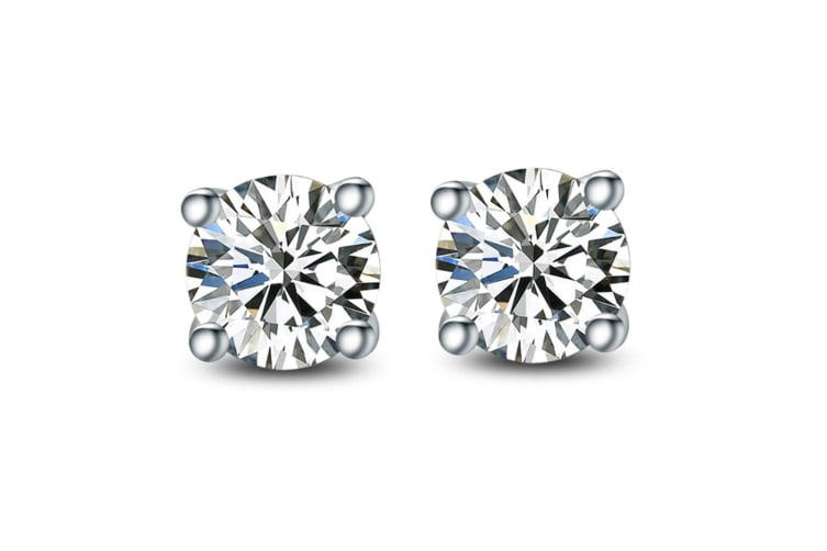 Essential Studs-White Gold/Clear