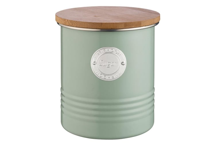 Typhoon 1L Sage Metal Tin Sugar Canister Container Storage Jar w Bamboo Wood Lid
