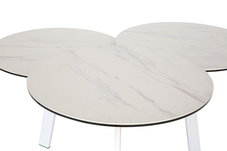 Misty 3 Tier Round Coffee Table | White