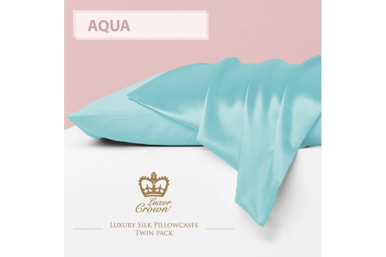 Two Mulberry Silk Fronted Pillowcases AQUA
