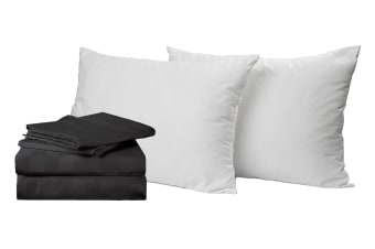 Royal Comfort 1200 Thread Count Damask Stripe Cotton Blend Quilt Cover Set + Goose Pillow Twin Pack (Queen, Charcoal Grey)