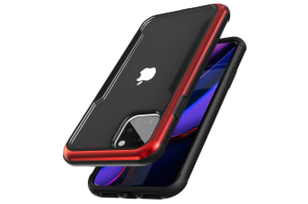 ZUSLAB iPhone 11 Pro Max Case Iron Shield Military Grade with Aluminum Frame & Shockproof Transparent Back Cover for Apple - Black & Red