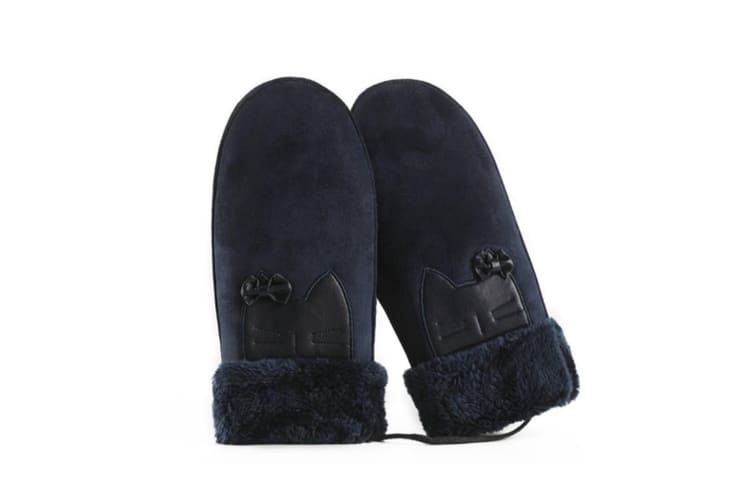 Winter Suede Mittens Thicken Gloves Hanging Lanyard Outdoor Riding Navy A