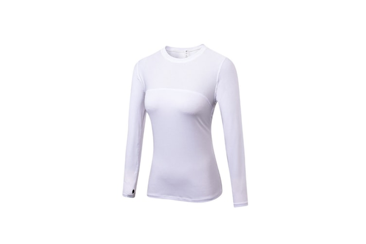 Women'S Compression Tops Long Sleeve Moisture Wicking Workout T-Shirt - White White M