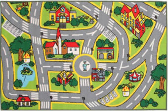 Kids Non Slip Road Map City Rug 200x133cm