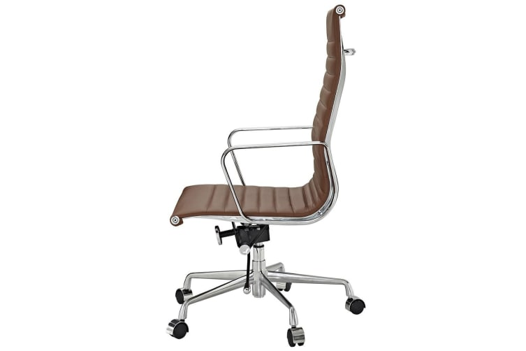 Replica Eames High Back Ribbed Leather Executive Desk / Office Chair | Brown