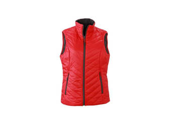 James and Nicholson Womens/Ladies Light Weight Vest (Red/Carbon Grey)