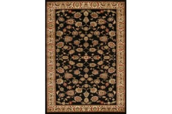 Traditional Floral Pattern Rug Black 170x120cm