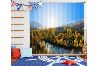 3D Forest River 110 Curtains Drapes