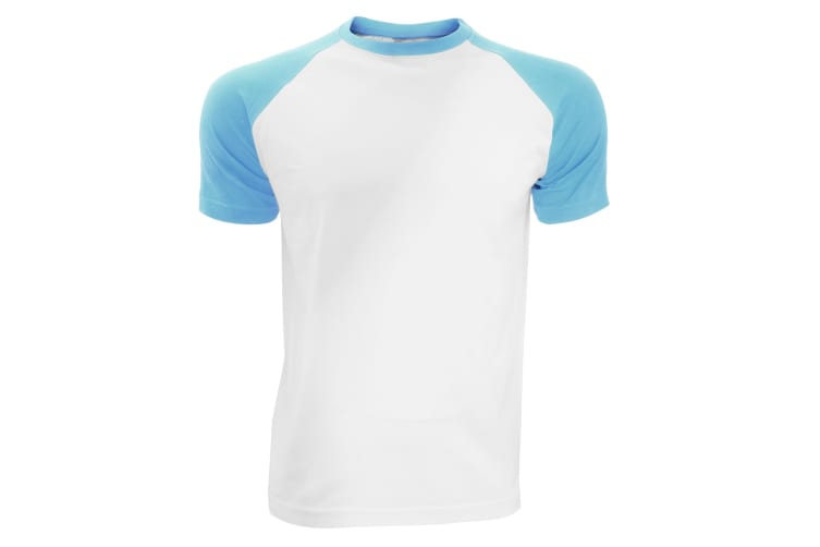 SOLS Mens Funky Contrast Short Sleeve T-Shirt (White/Blue Atoll) (S)