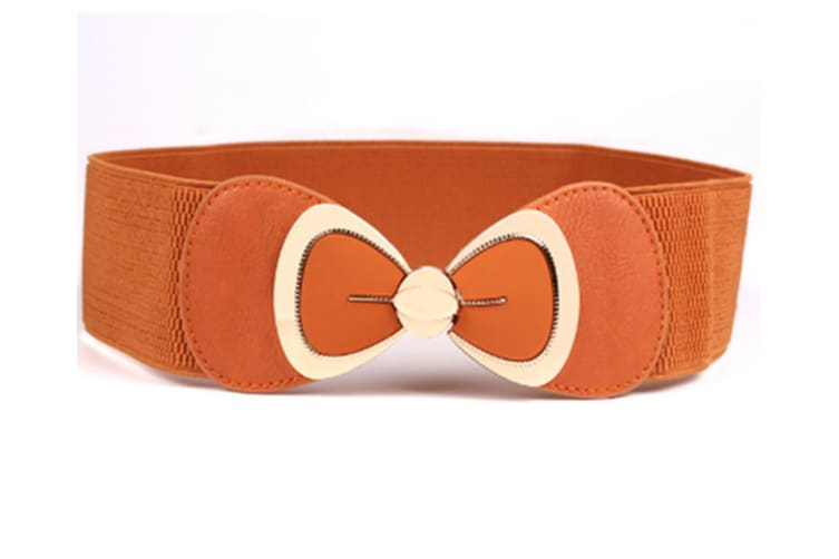 Vintage Waist Butterfly Belt Retro Wide Elastic Cinch Belt For Women Camel