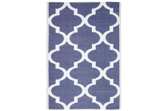 Coastal Indoor Out door Rug Trellis Navy White 220x150cm