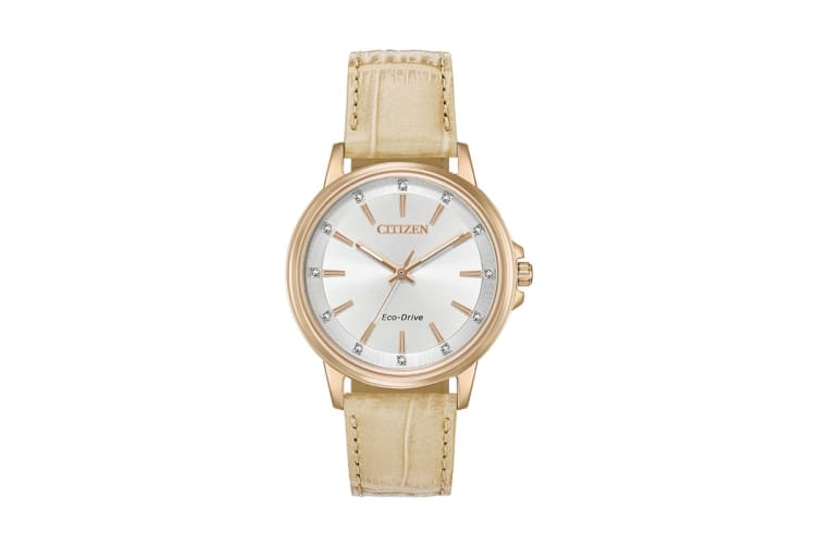 Citizen Ladies' Eco-Drive Watch with Swarovski Crystals & Leather Strap - Taupe/ Stainless Steel (FE7033-08A)